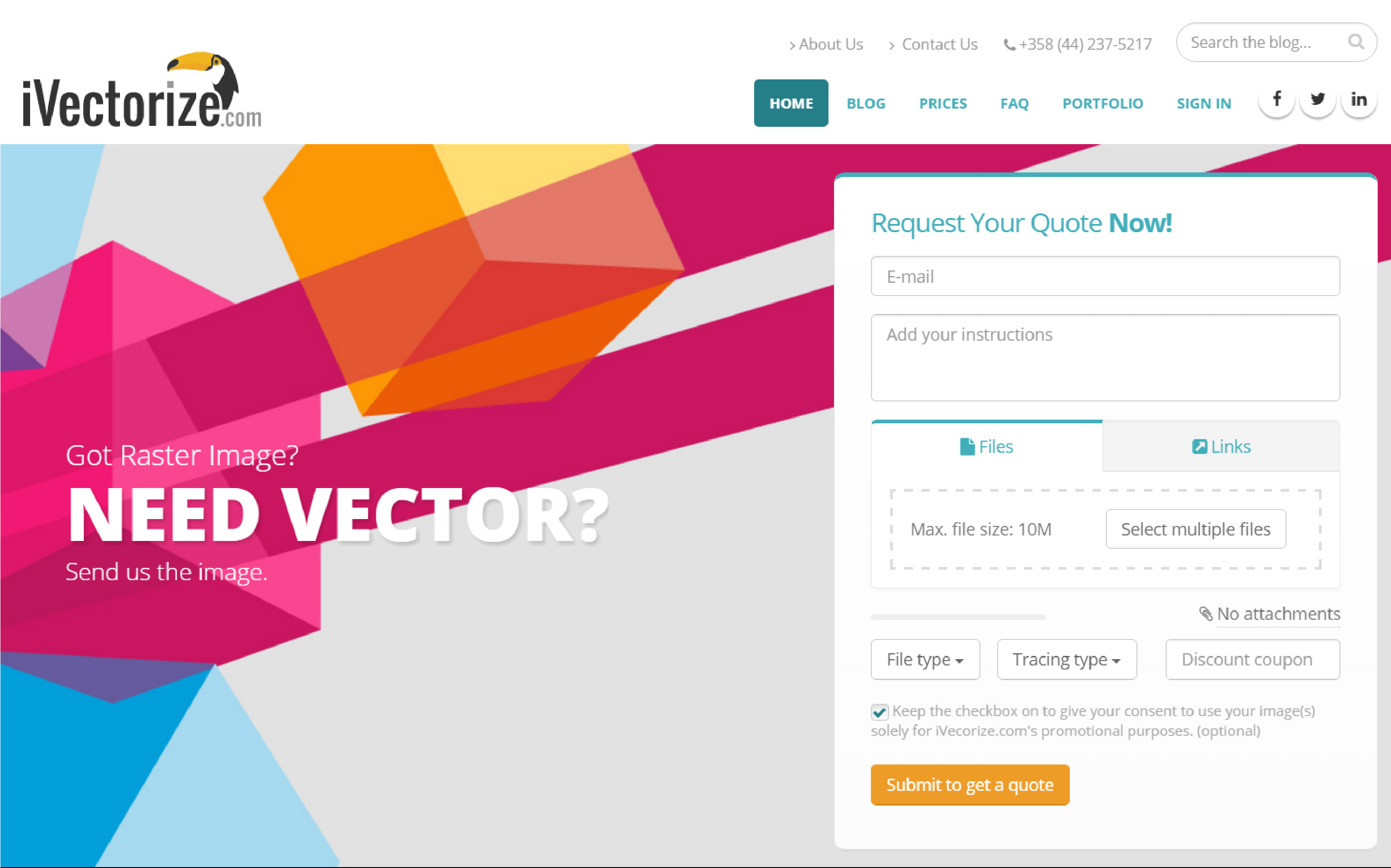 iVectorize.com website homepage screenshot